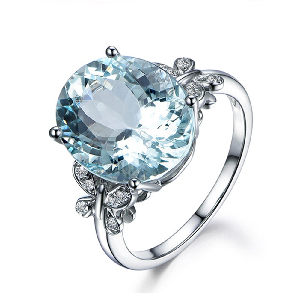 Erllo 6 Carat Blue Topaz Butterfly Ring Sterling Silver 10x14mm Oval Gemstone Ring Engagement Rings