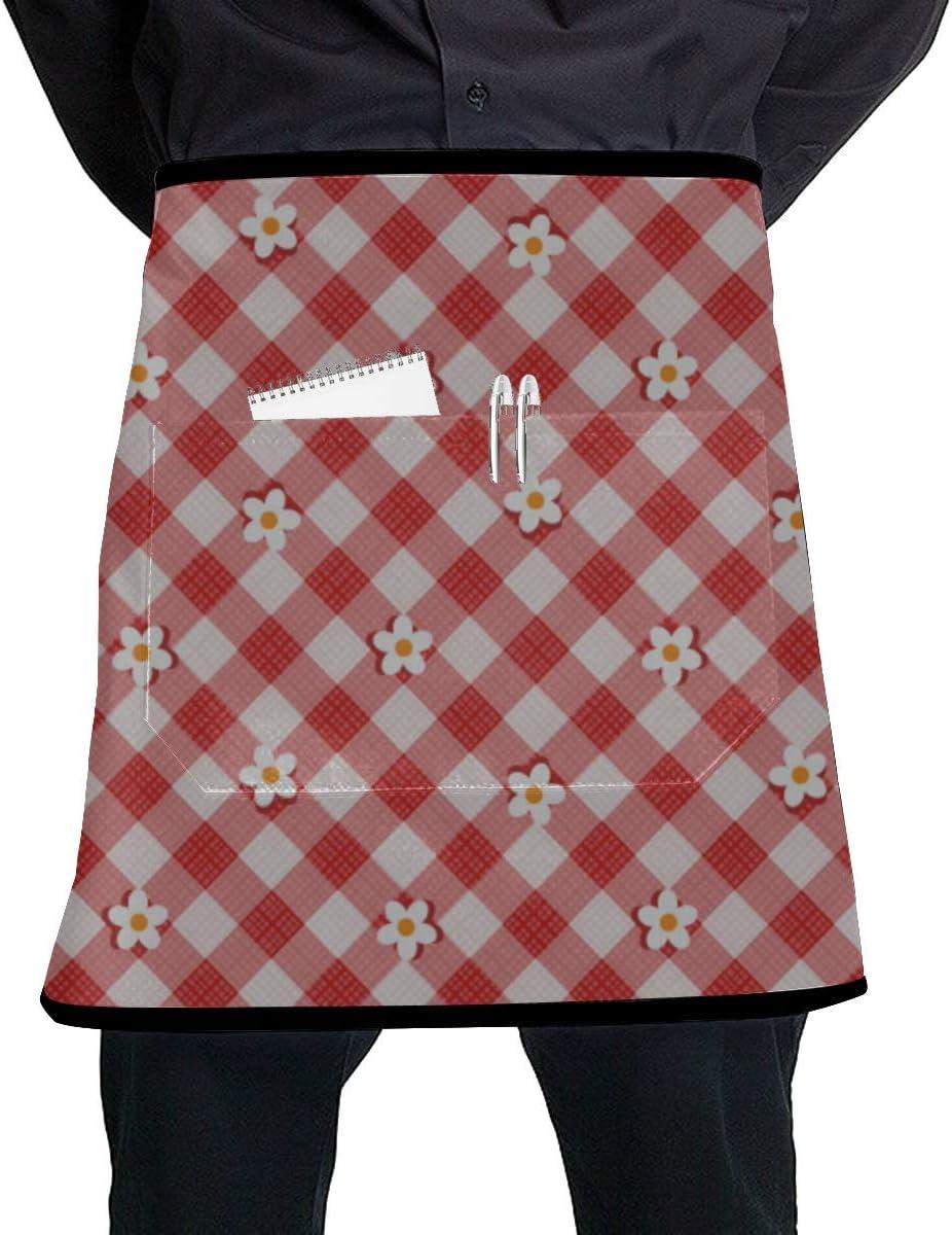 WYYWCY Delantal de Camarera para niños Delantales de Cintura clásica con celda clásica para Mujeres con Bolsillo Grande Unisex para Cocina Elaboración de Dibujo de Barbacoa: Amazon.es: Hogar