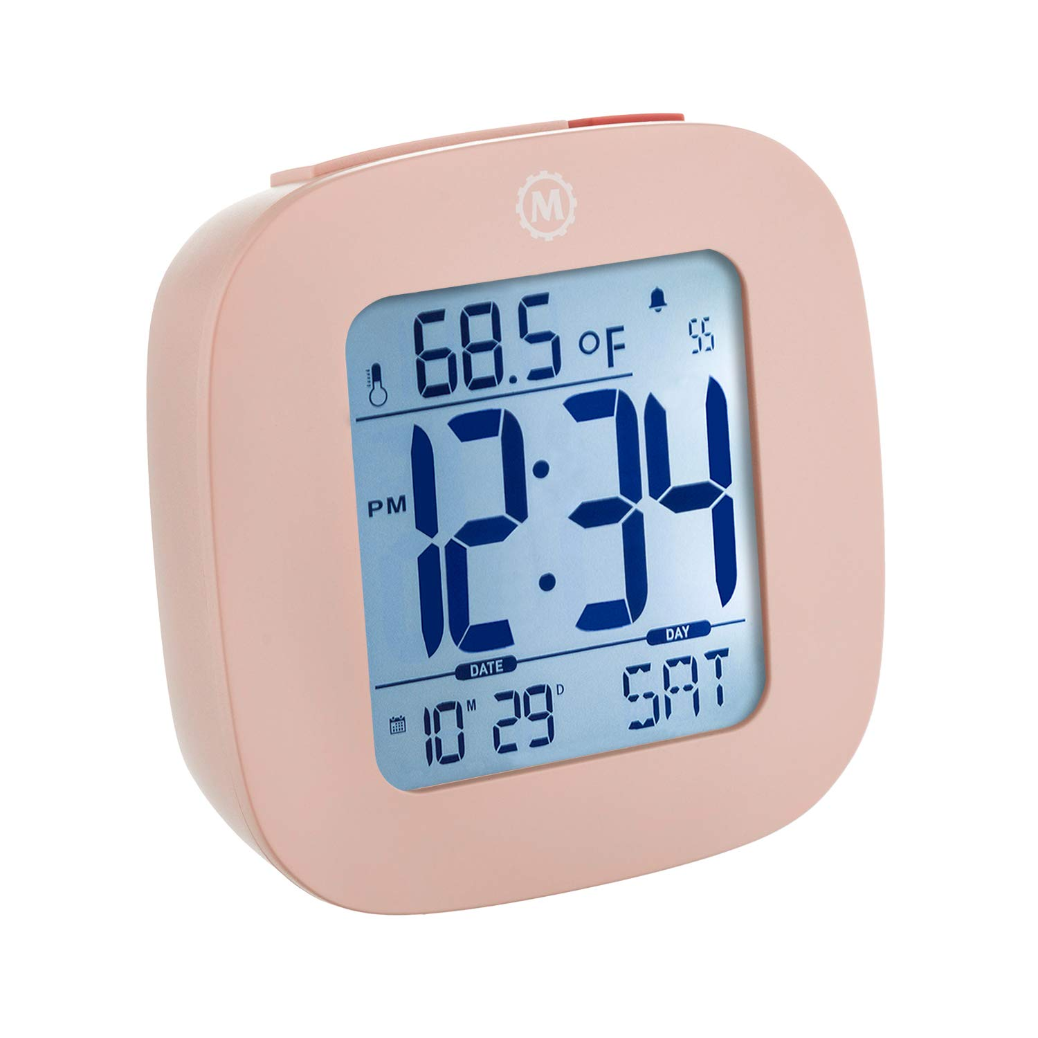 Marathon CL030058PI Small Alarm Clock with Snooze, Light, Calendar, Temperature and Date - Pink - Batteries Included