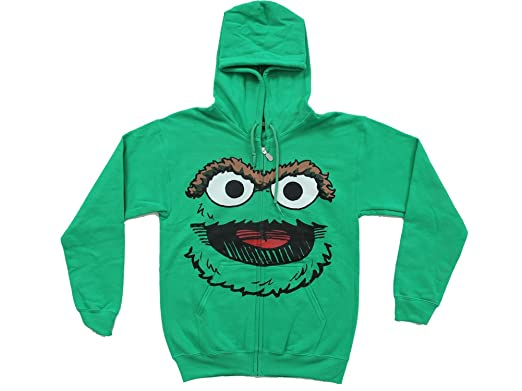 507bc185 Amazon.com: Oscar the Grouch Adult Hoodie Sweatershirt Jacket: Clothing