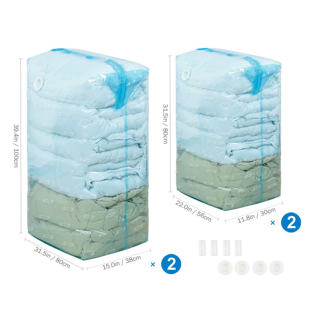 ... Bolsas ahorradoras de espacio 4 Piezas, 2 x (80 x 100 x 38 cm)&2 x (56x80x38cm) (Funciona con cualquier aspiradora) para almohadas edredón Manta Ropa ...