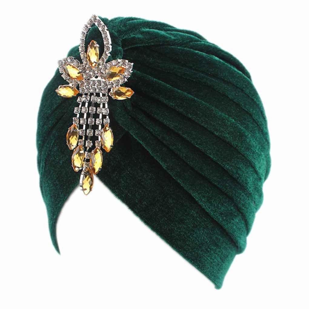 vkospy Women Lady Chemo Velvet Turban Cap Hat Rhinestone Pendant Head Cover Cap