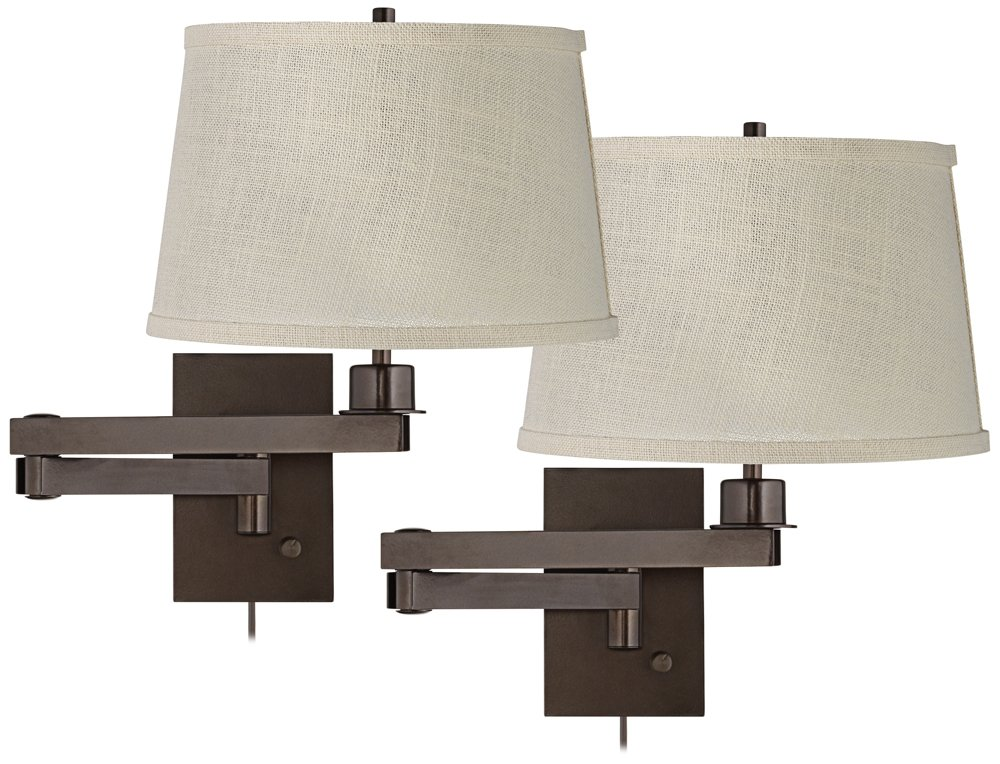 Set of 2 Bronze Cream Burlap Drum Swing Arm Wall Lamps