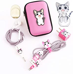 ZOEAST(TM) DIY Protector Kitty Pet Data Cable USB Charger Line Earphone Wire Saver Organizer Compatible with iPhone 5S SE 6 6S 7 8 Plus X XS XR Max iPad iPod iWatch (Upgrade Styles, Sweet Home Cat)