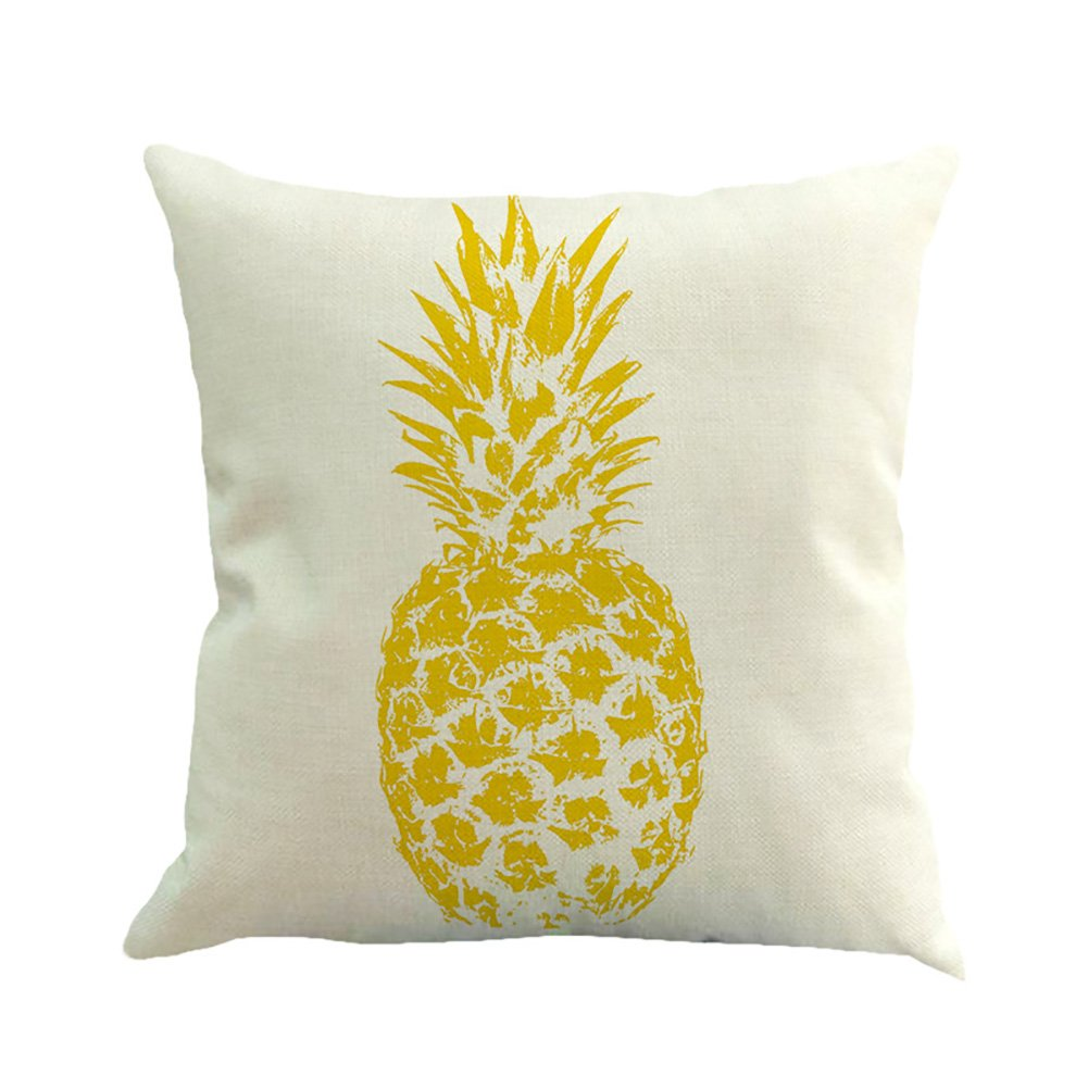 2 Leisial Square Pillow Case Pineapple Floral Print Sofa Cushion Cover Home Decor or for Car Use Without Core