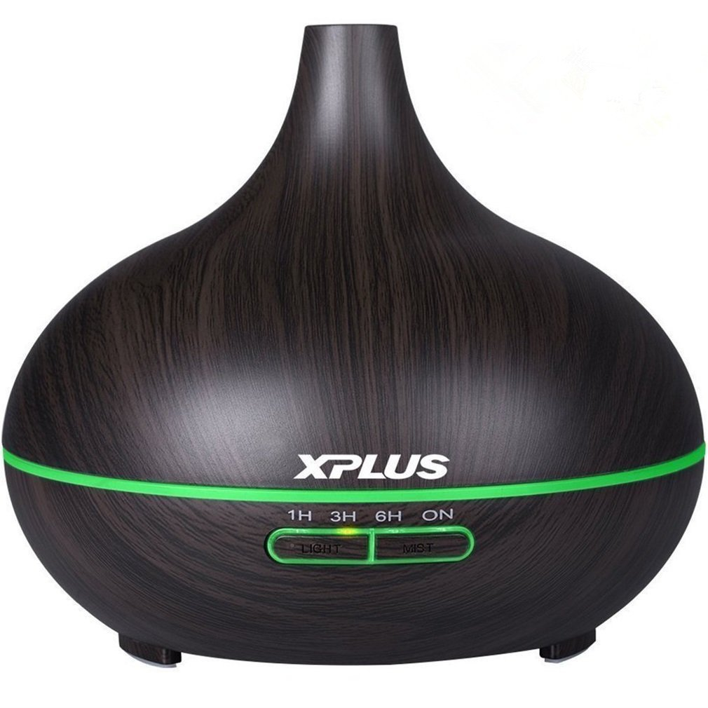 XPLUS 300ml Aroma Essential Oil Diffuser Wood Grain Ultrasonic Cool Mist Humidifier for Office Home Bedroom Living Room Study Yoga Spa (Dark Wood Grain)