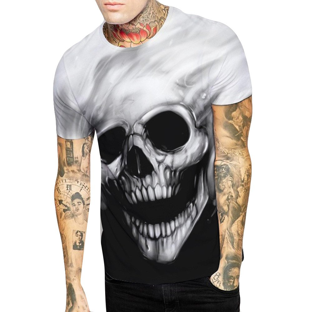 Men's Couple Skull Print T-Shirt Shirt O-Neck Short Sleeve T-Shirt Shirt Top Black