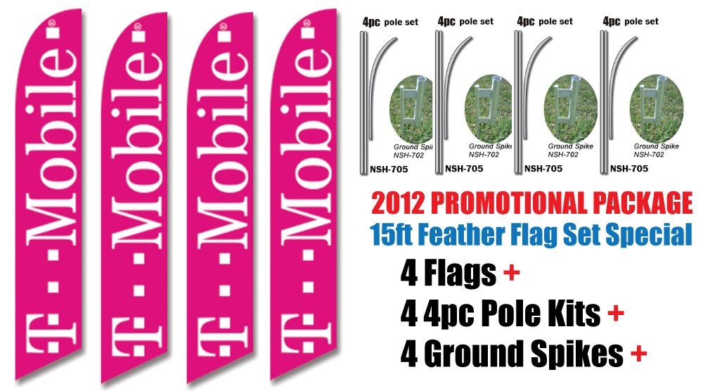 4 Sets of 15ft TMOBILE T-mobile Authorized Dealer Swooper Feather Flags - INCLUDES 15FT 4pc POLE KITS w/ Ground Spikes