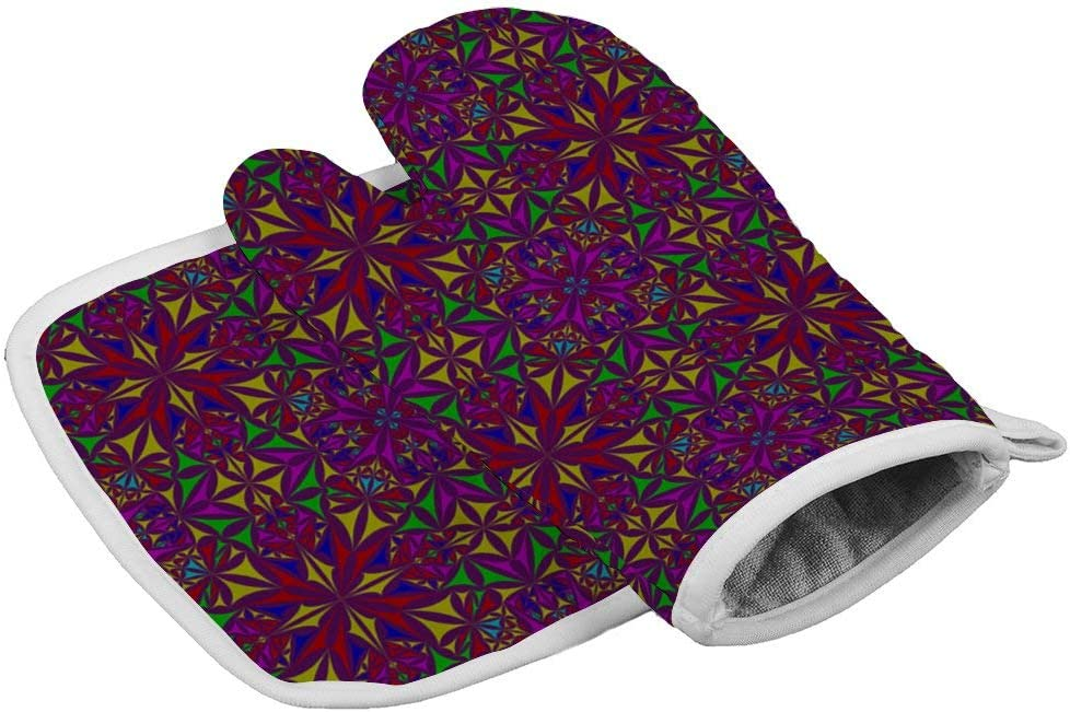 Sprutea Triangle Pattern Kaleidoscope Color Curved Shape Heat Resistant Insulated Oven Mitts potholders Kitchen Oven Gloves for Baking BBQ Grilling {Customized,Personalized}