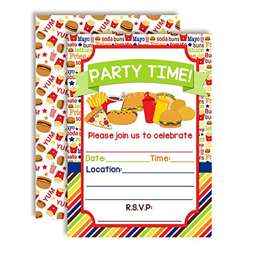 Junk Food Birthday Party Invitations with Pizza, Hot Dogs, Pop Corn, Hamburgers, Fries and More! Ten 5