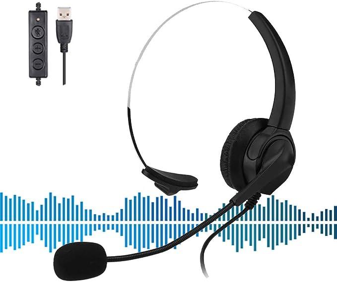HOTSO Auriculares Teléfono Fijo Cableados Mono Universal, Micrófono con Cancelación de Ruido, USB Cascos con Control de Volumen Y Botón de Respuesta para PC, Servicio Telefónico, Oficina, Casa: Amazon.es: Hogar