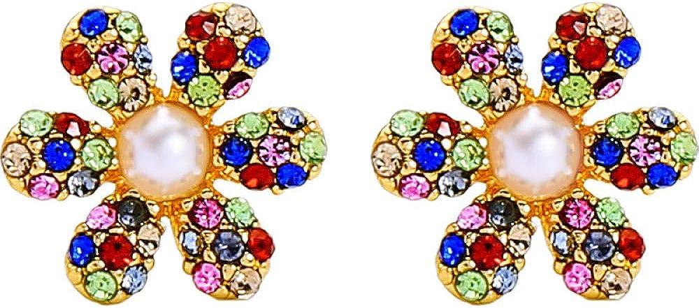 Joyas Pendientes de perlas de circonita y flores de diamantes Pendientes japoneses y coreanos Kdw