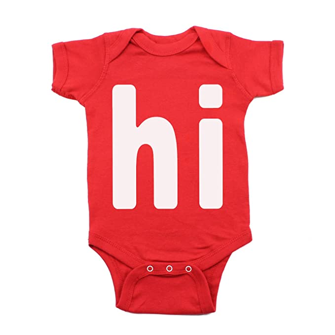 0cdc036179 Cute Baby Girl White  quot Hi quot  Infant One Piece Short Sleeve Bodysuit  Red