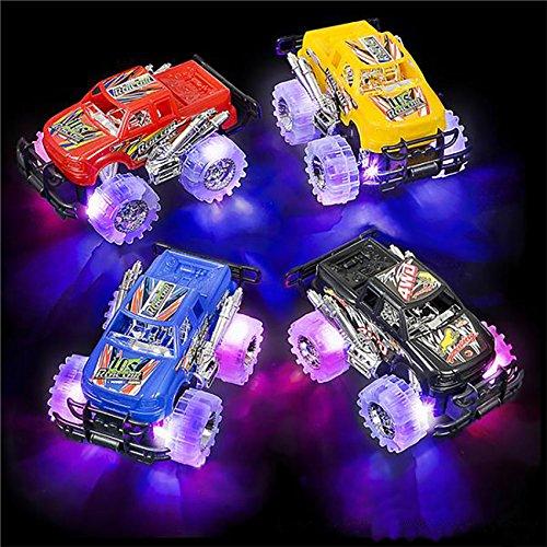 4E's Novelty 2 Pack Monster Pullback Racer Cars, Light up Wheals, Pullback Trucks Toys Boys, Best Gift Kids