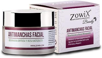 ZOWIX. Crema antimanchas facial. Antiarrugas, Hidratante y Reparadora. Crema despigmentante y quita manchas. Unifica y recupera el tono de cara y manos. 50 ml: Amazon.es: Belleza