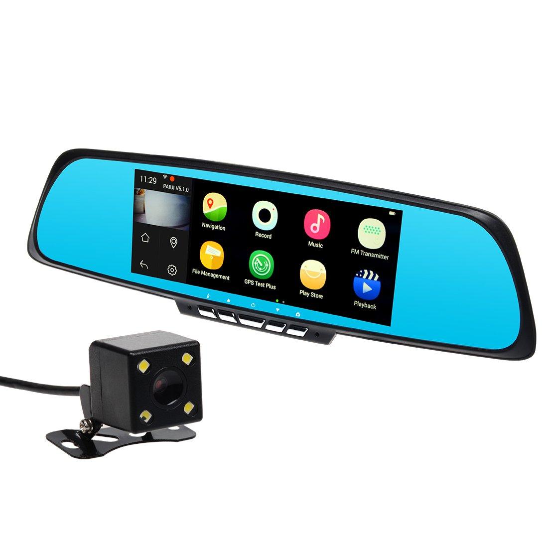 TOGUARD Caméra Embarquée De Voiture WiFi Miroir Intelligent De 7 Pouces Caméra De Recul Navigation GPS SAT NAV, Double Objectif 1080P HD DASHCAM, Rétroviseur Écran Tactile Caméra De S