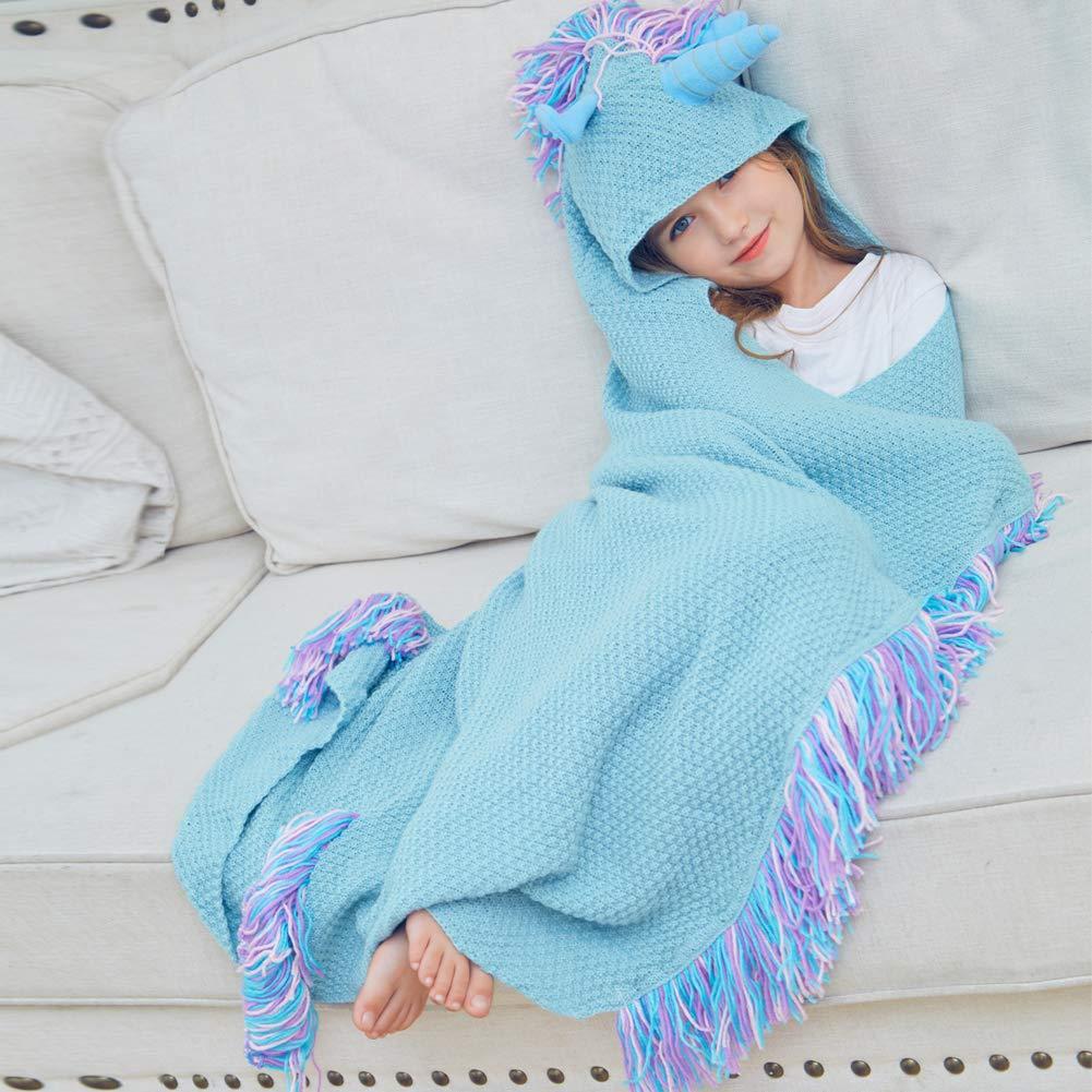 MHJY Unicorn Blanket,Hooded Knit Animal Blanket Wearable Throw Blanket Unicorn Gifts Cartoon Hoodie Blanket for Sleeping Reading Traveling Camping touchhome