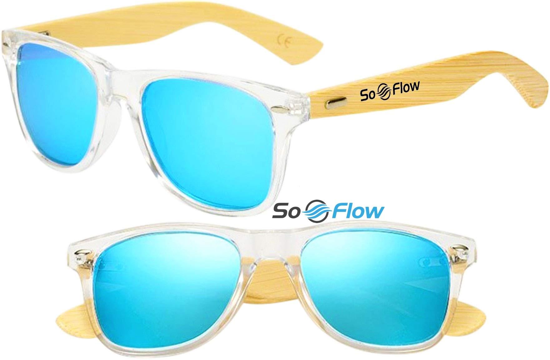 SoFlow Neon Blue Polarized Wood Sunglasses Men Women Mirrored Lightweight Wooden Bamboo Wayfarer UV-400 Clear Front Frame Medium/Large Blue Lens Sunglasses Prime Cool Beach Pool Driving Shades