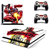 Vinyl Decal Protective Skin Cover Sticker for Sony PS4 Console And 2 Dualshock Controllers--Dead pool#5
