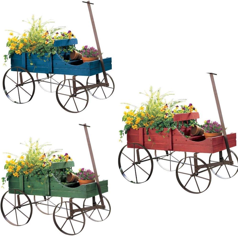 Cartener Red Wagon Decorative Indoor/Outdoor Garden Backyard Planter