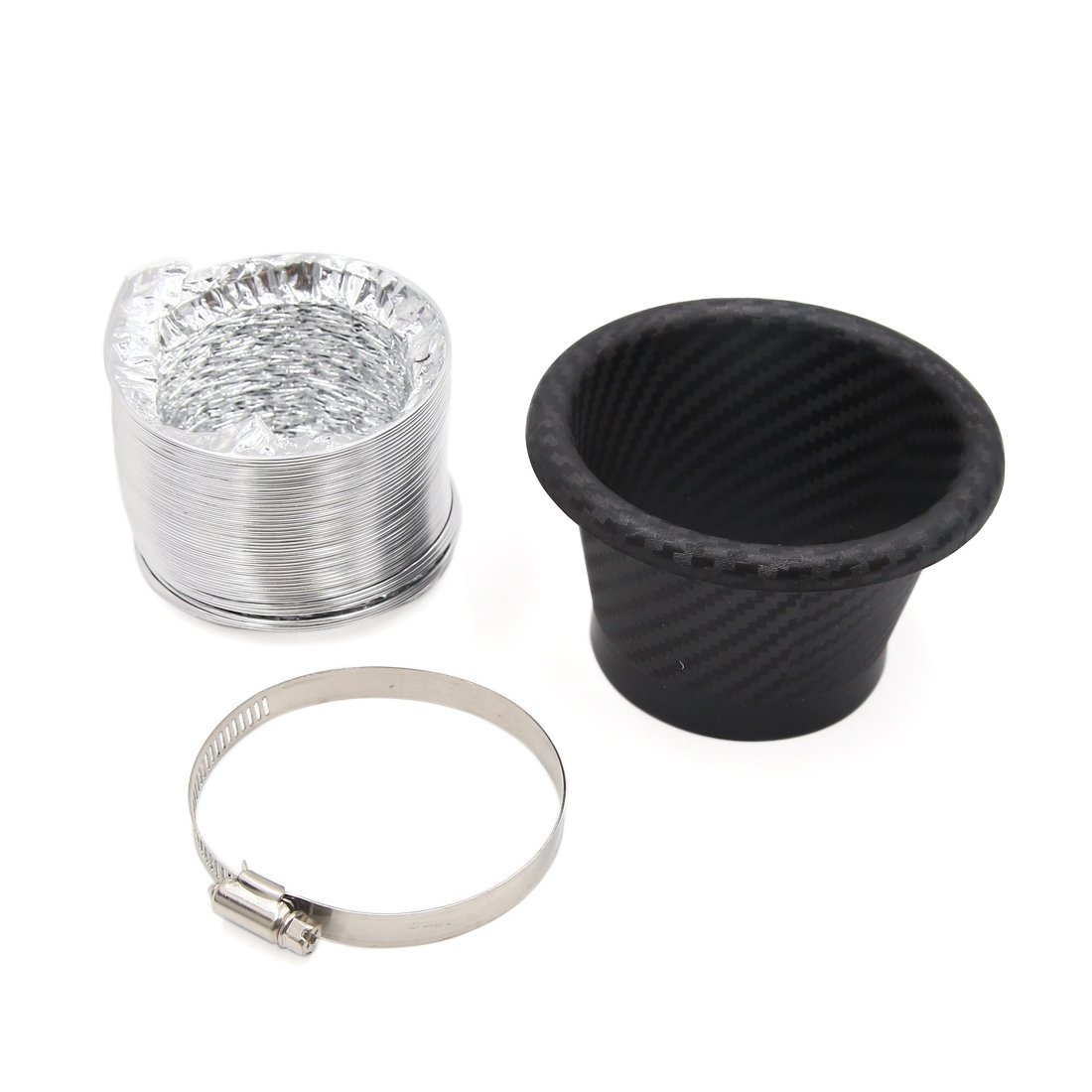 uxcell Carbon Fiber Pattern Round Shaped Car Turbo Turbine Inlet Pipe Air funnel