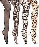 Lazyfashion 4 pairs Sexy Hosiery Fishnet stockings Elastic High Waist Pantyhose Tights,Black,Free size