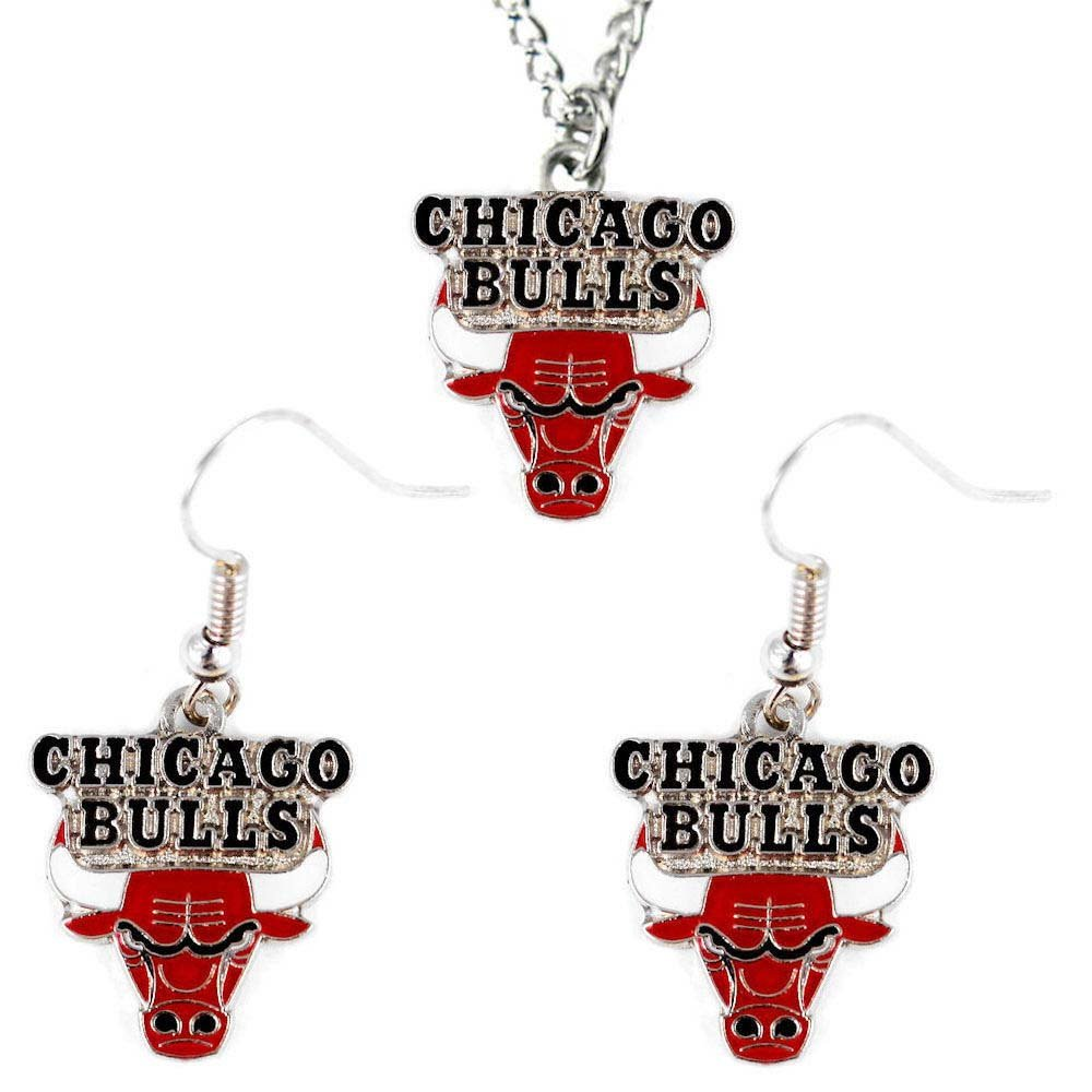 Chicago Bulls Necklace and Dangle Earring Charm Set - NBA