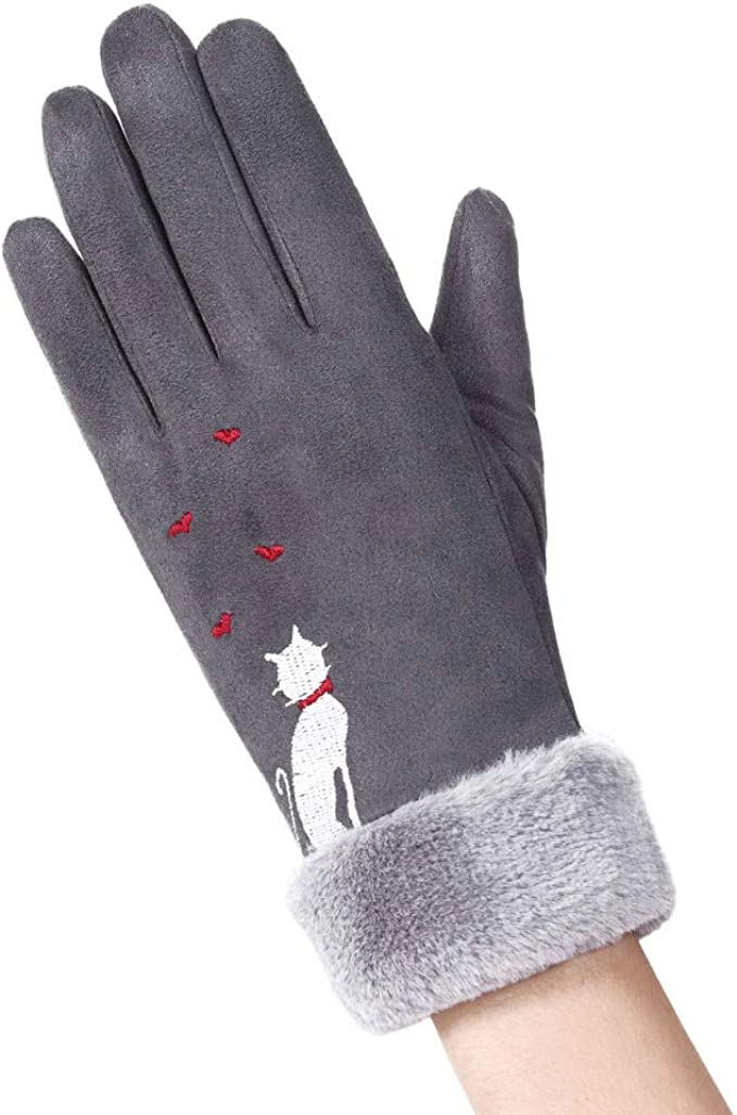 Vintage Style Gloves- Long, Wrist, Evening, Day, Leather, Lace iHAZA Cute Cat Warm Gloves Women Ladies Full Finger Gloves Outdoor Fleece Lined Mittens £4.50 AT vintagedancer.com