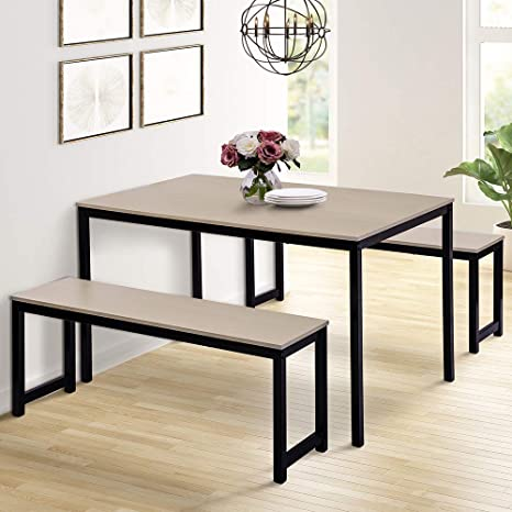 Grey-White Dinning Table Set /& 2 Long Benches MDF Kitchen Restaurant Dining Room