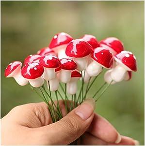 UTENEW Kawaii Resin Craft Decoration Mushroom Fairy Garden Miniatures Accessories (Pack of 50)