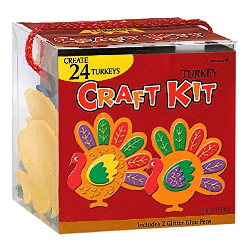 Festive Fall Thanksgiving Party Turkey Craft Kit Activities, Foam, Set of 216 (Halloween Craft Classroom Party)