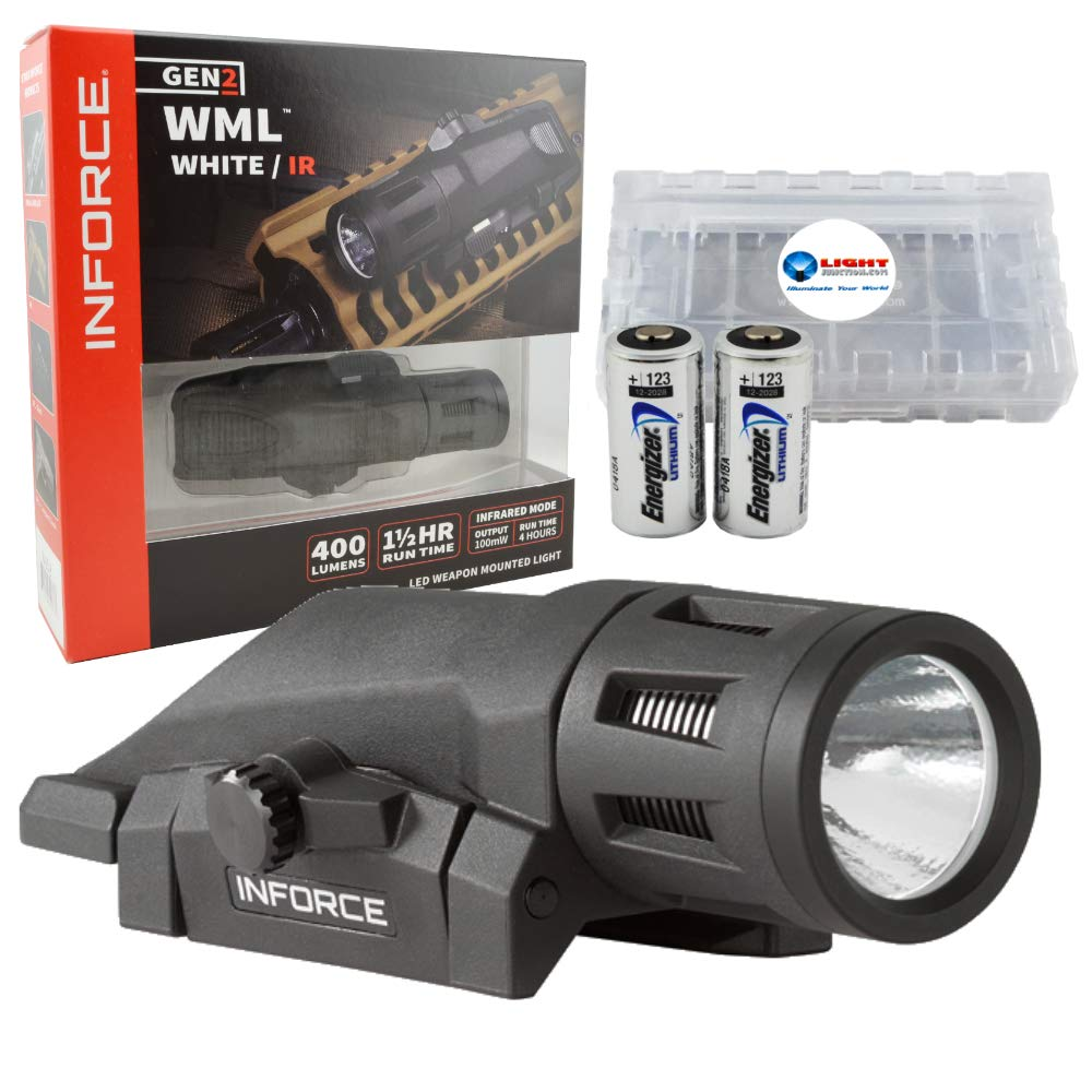 Inforce WML White IR Gen 2 Weapon Light 400 Lumens with Infrared - Black Bundle Includes 2 Extra CR123 Batteries and Lightjunction Battery Case