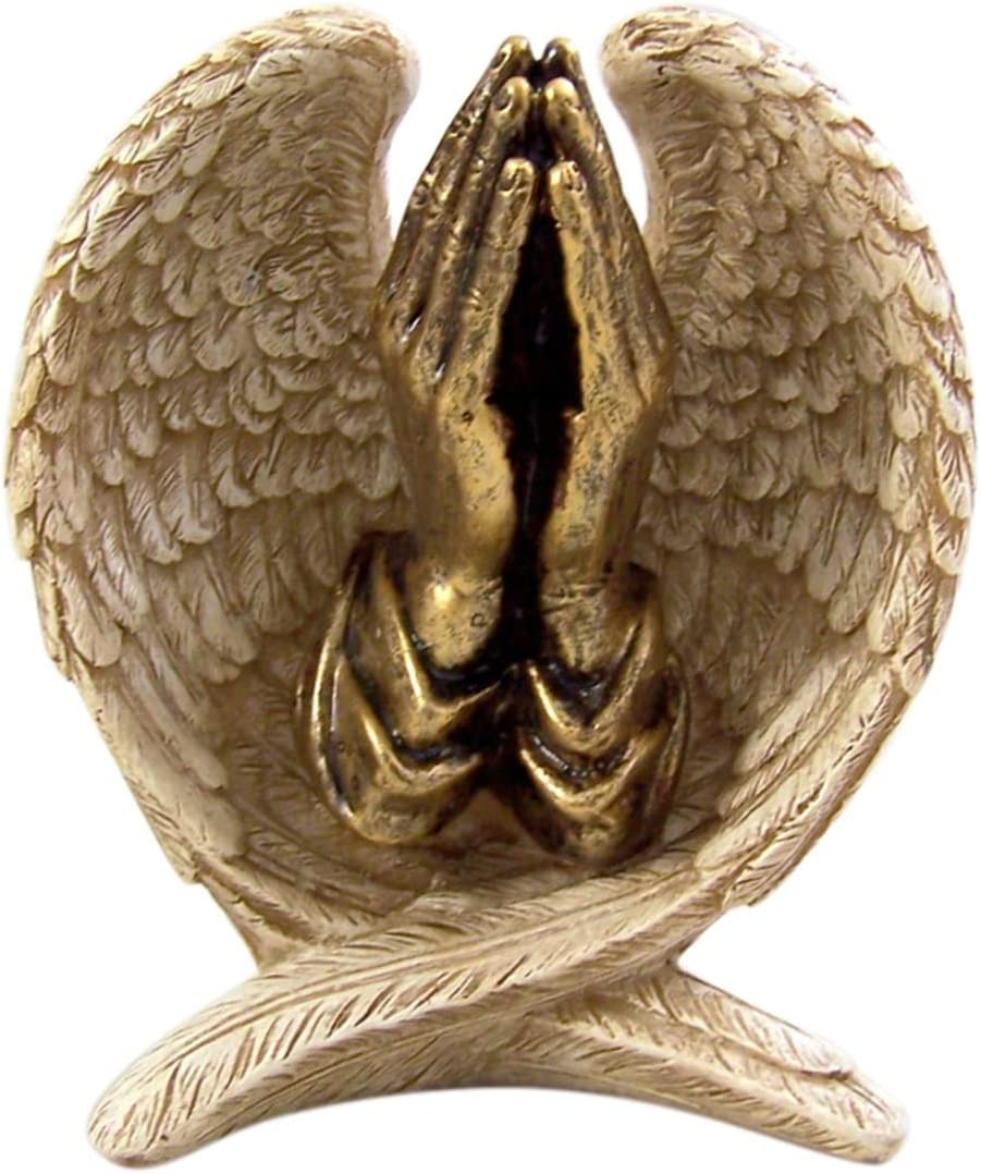 Angel Wings with Praying Hands Cast Resin Figurine Statue, 5 Inch