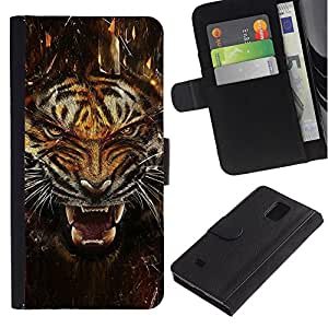 NEECELL GIFT forCITY // Billetera de cuero Caso Cubierta de protección Carcasa / Leather Wallet Case for Samsung Galaxy Note 4 IV // Fierce Agresivo Ataque Tigre