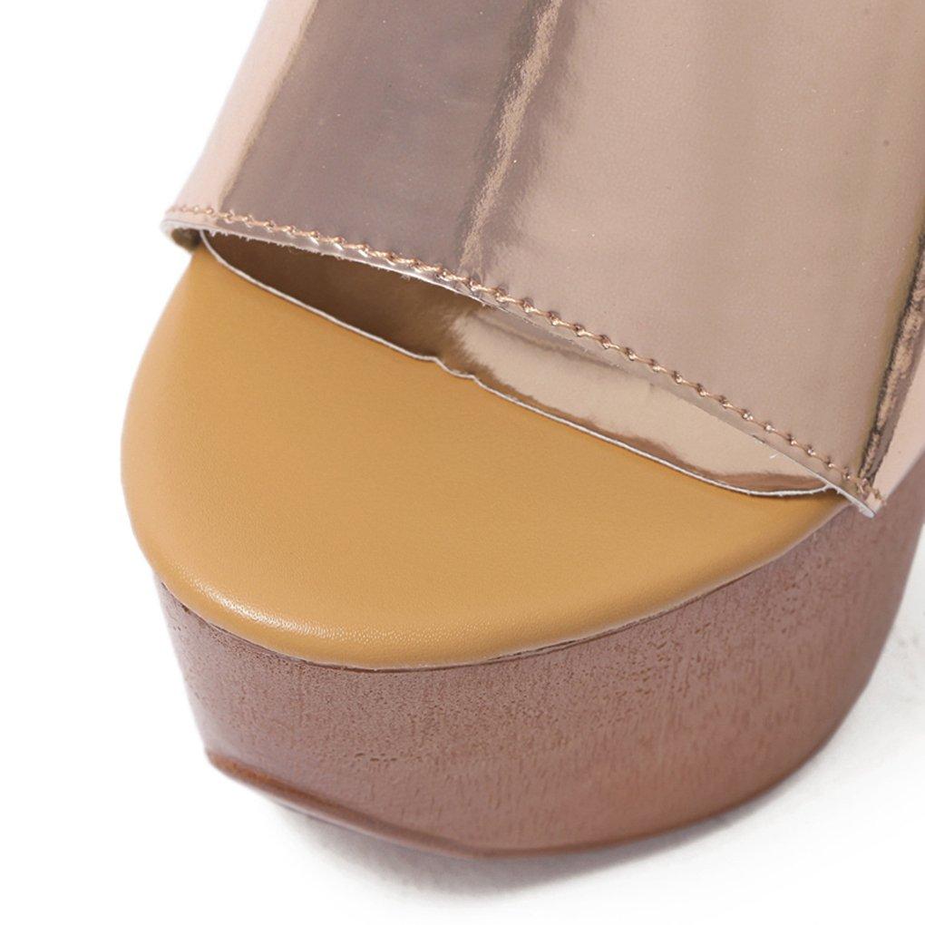 Genepeg Womens Sandals Platforms Shoes Shoes Shoes 14cm High Heel Platform Clogs Summer Slippers 8 B(M) US|Champagne B07F6P6FJV bf1dff