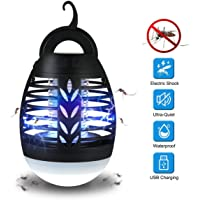 Outdoor Camping Bug Zapper Lamp, Goglor Indoor Cordless Insect Zapper, Adjustable Brightness Mosquito Trap, Portable Waterproof Electric Fly Killer for Home Office Yard Picnic Hiking Fishing etc
