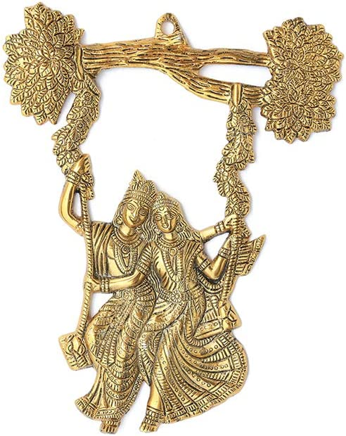 Metal Wall Hanging Radha Krishna wall Decor Tree Jhula Jhoola Swing Indian Decorative statue Idol wall décor for Home, Office, Temple, gifting and Interiors.