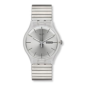 Swatch SUOK700B - Reloj analógico unisex de acero inoxidable recubierto plata: Swatch: Amazon.es: Relojes