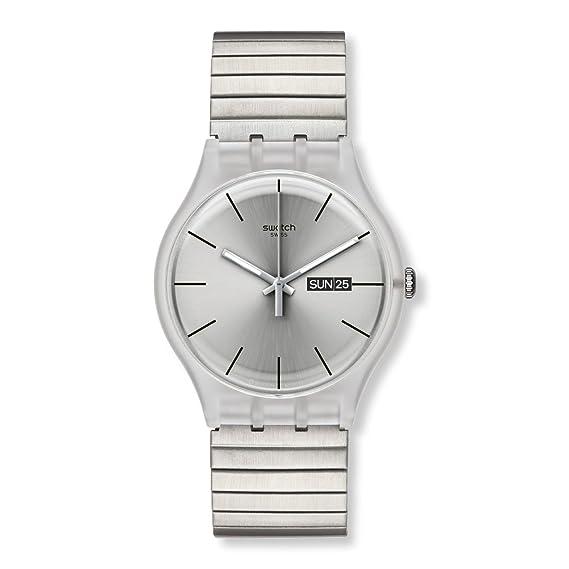 Swatch - Reloj analógico para caballero de acero inoxidable recubierto plata: Amazon.es: Relojes
