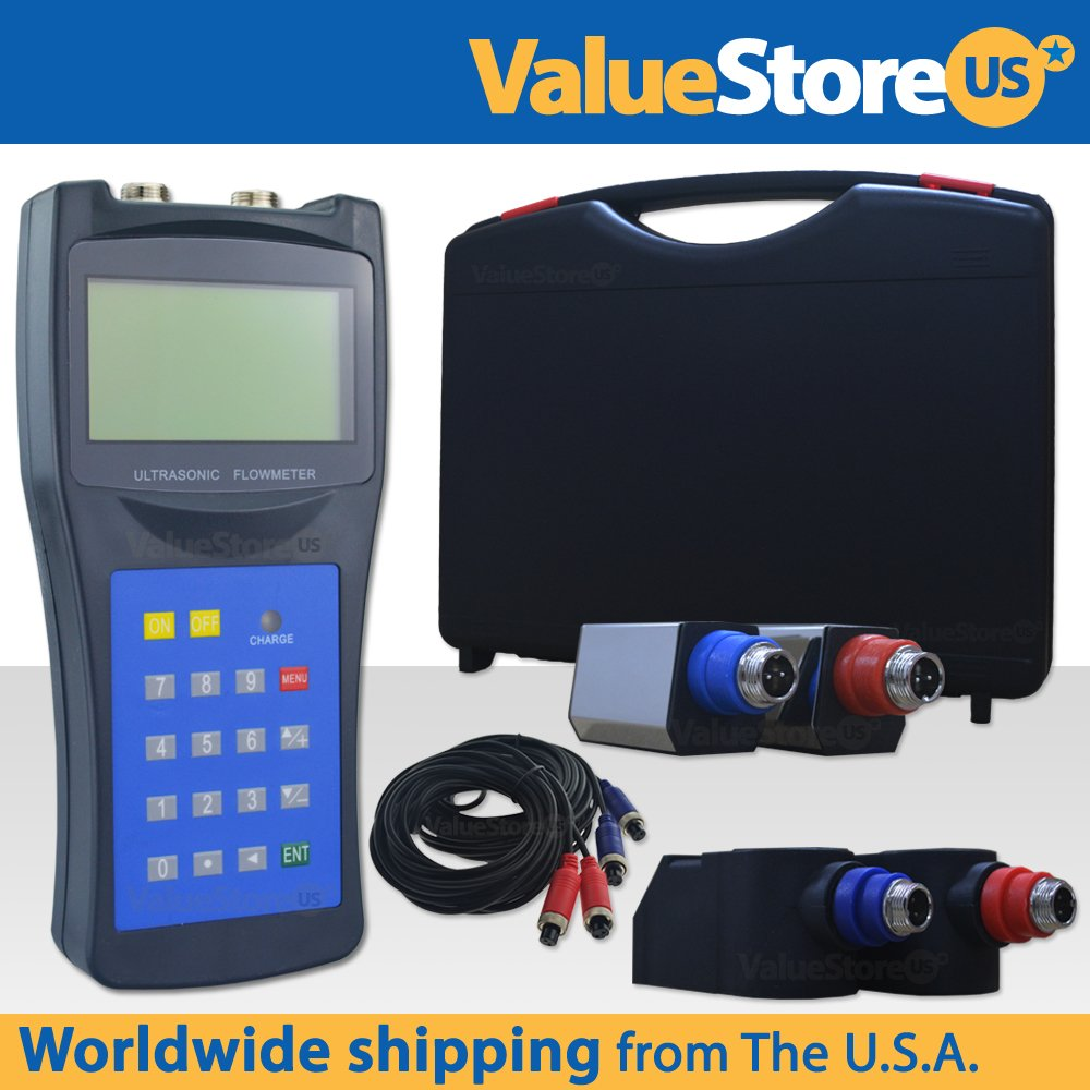Portable Digital Ultrasonic Flow Meter USF-100 with S & M Transducers for Pipes from 0.76 to 27 inch (20 to 700 mm) & from -40°F to 320°F (-40°C to 160°C).