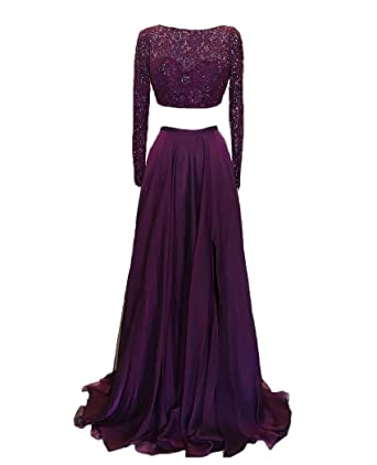 QiJunGe Long Sleeve Prom Dress Two Piece Evening Gown Beaded Formal Party Gown Burgundy US 2