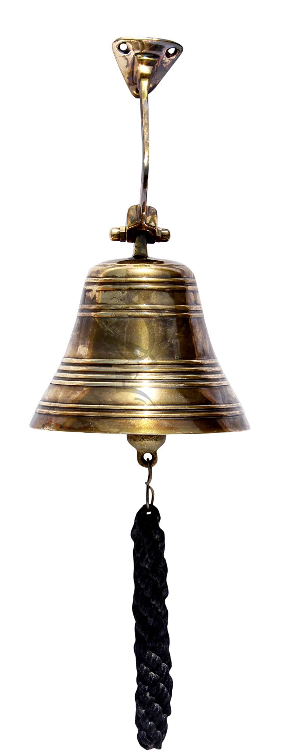 MAH Brass Finish Ship?s Bell Maritime Duty Watch/Indoor/Outdoor/Last Orders/Pub/Door/School/Dinner/Reception Wall Mountable Brass Bell with Wall Mount C-3055