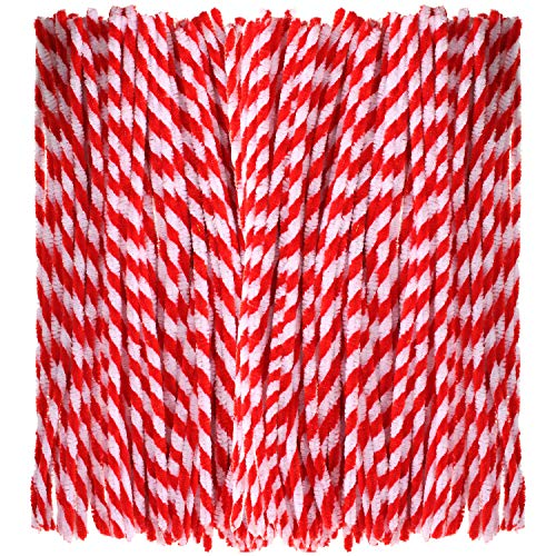 White Chenille Craft Stems - Bememo 200 Pieces Valentine's Day Striped Chenille Stem Art Craft Pipe Cleaners, Red with White, 6 mm by 300 mm