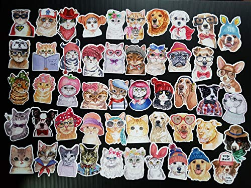 50Pcs. Cartoon Stickers Bomb Pack Dogs Cats PVC Waterproof Stickers for Laptop Notebooks Car Bicycle Skateboards Luggage Decoration