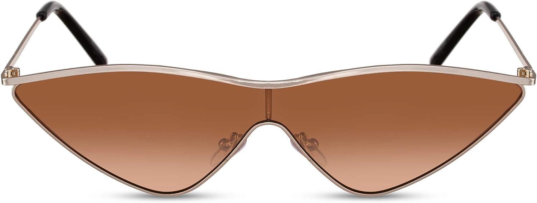 Cheapass Gafas de Sol Mujer Met/álicas Montura Ojo de Gato con Lentes de Una Pieza UV400
