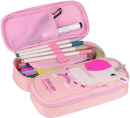 Estuche de lápices Unicornio - WENTS Estuches Escolar Grande Lápiz de Gran Capacidad Bolsas Dobles Bolso de lápiz Unicornio para Niñas, Niños y Adultos 2 Compartments (Rosa): Amazon.es: Oficina y papelería