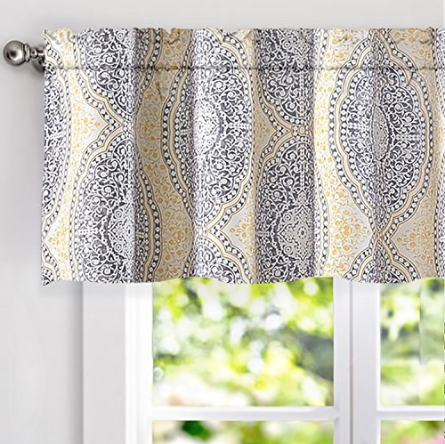 "DriftAway Adrianne Damask/Floral Pattern Window Curtain valance(52""x18, Yellow/Gray)"