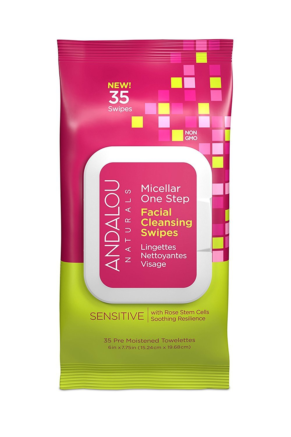 Andalou Naturals Sensitive Micellar One Step Facial Cleansing Swipes, 35-Piece 25242