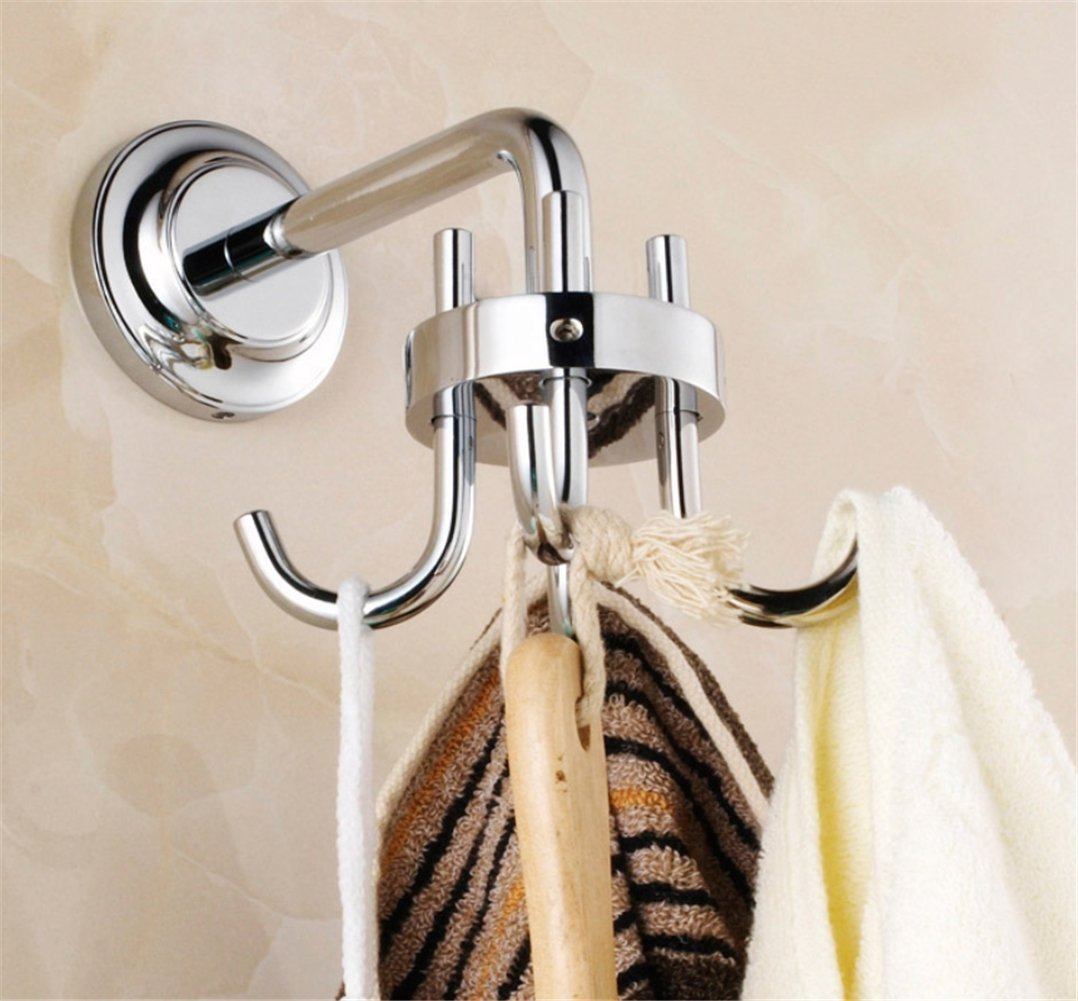 Qazwsx Robe Hooks, Hook Rack Brass 360 Degree Rotation Wall Mounte Robe Clothes Hook For Bath System Attachments,Silver
