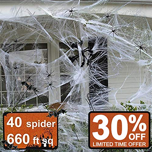 Halloween Decorations Clearance & Props Covered 660sqft Stretch Large Spider Web Spooky White Spider Webbing with 40 Fake Spiders for Party Indoor Outdoor Doorways Walls Entryways]()